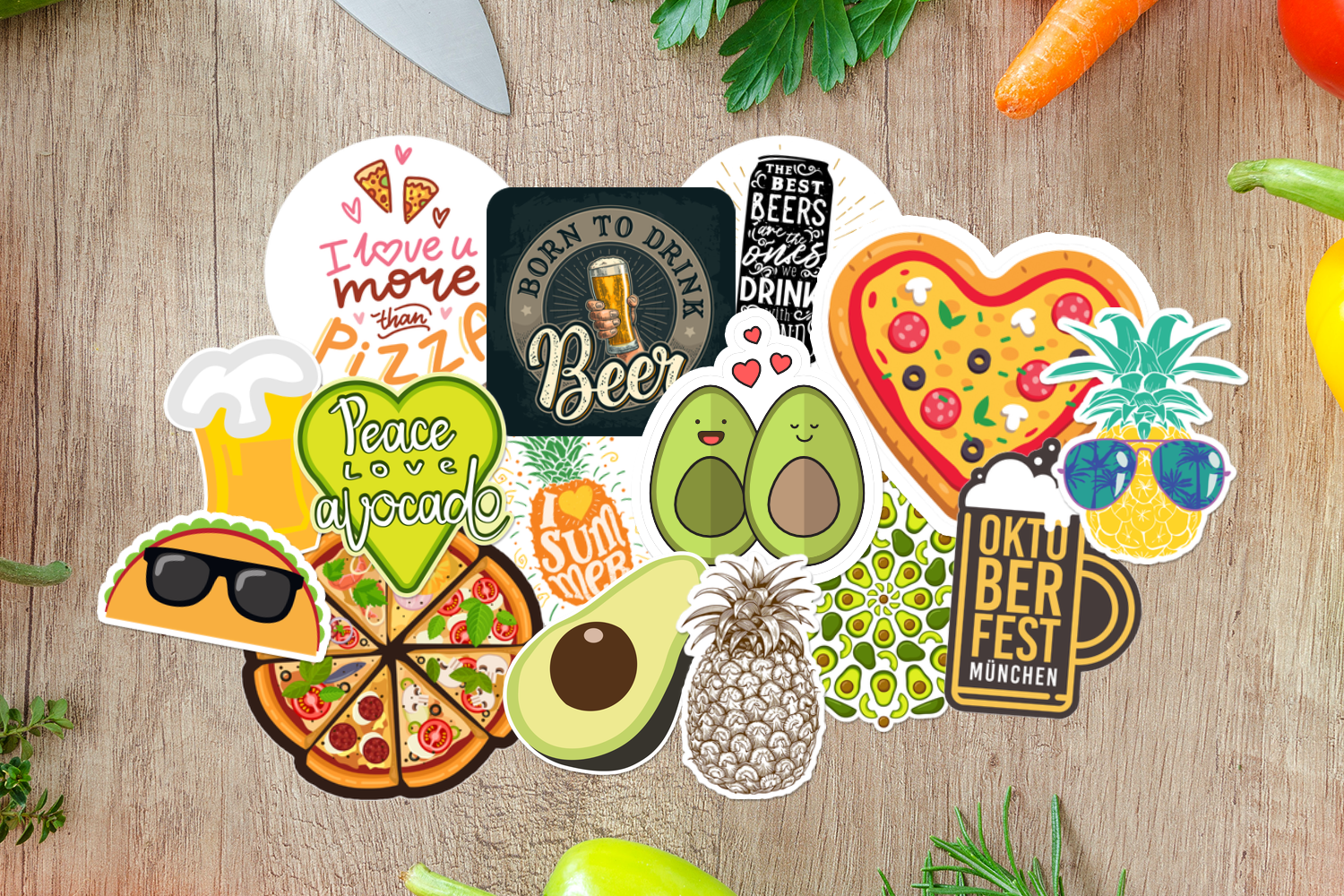 Food and Beverage Stickers on table.