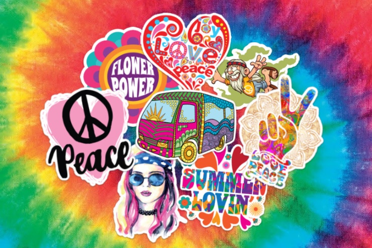 Collection of Hippie Stickers and Decals.