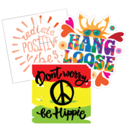 Group of Hippie Stickers.