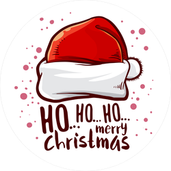 Ho Ho Ho Santa Hat Circle Sticker.