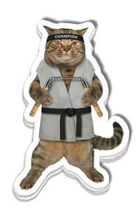 Stack of Karate Cat stickers