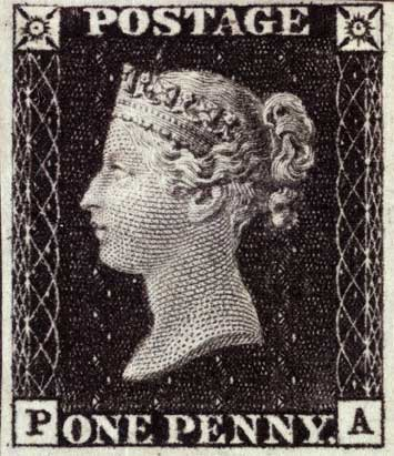 The first postage stamp.