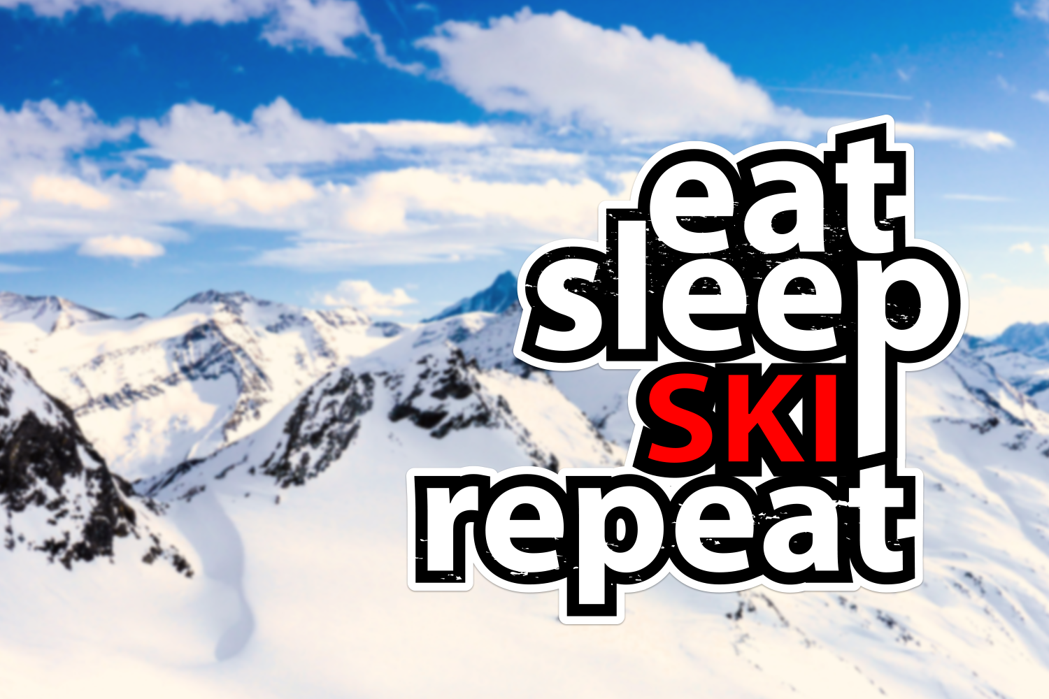 Eat Sleep Ski Repeat Stickers