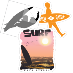 Surfing Car Stickers and Decals