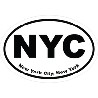 New York Cities Oval Car Stickers and Decals