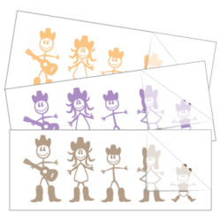Country Western Family Sticker and Decal Singles