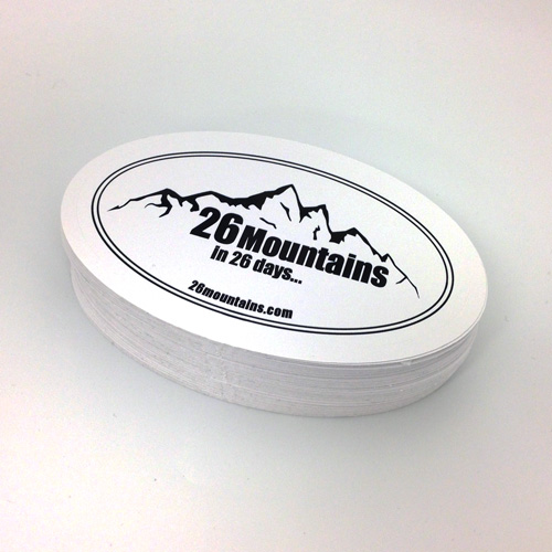 26 Mountains Custom Oval Stickers