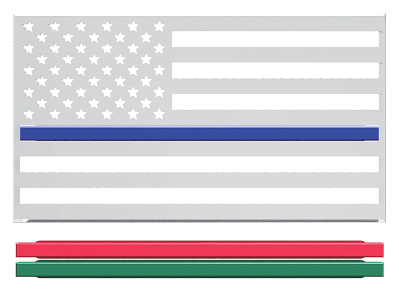 USA Flag Thin Line 3D Chrome Plated Sticker