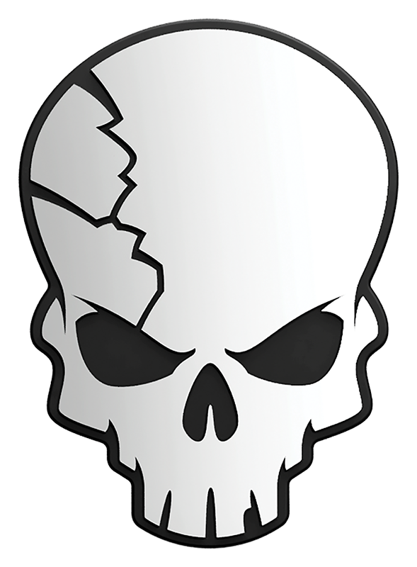 Cracked Skull 3D Chrome Plated Sticker
