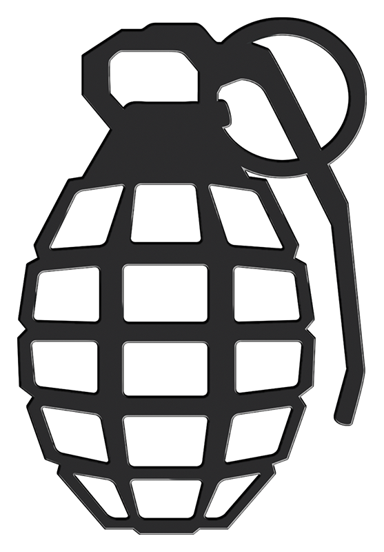 Grenade 3D Matte Black Sticker