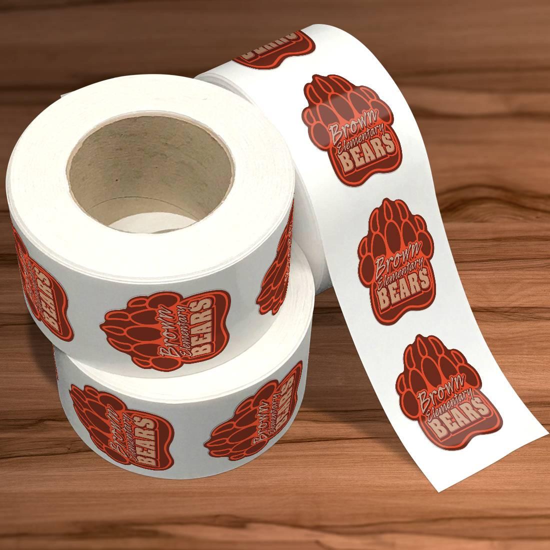 Brown Bear Die Cut Sticker Rolls