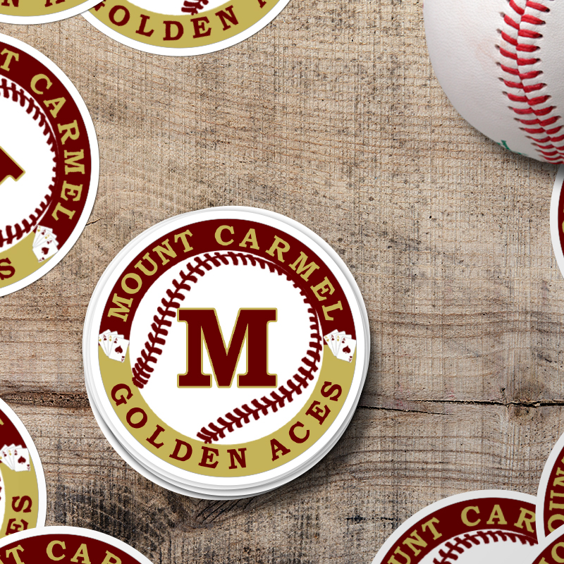 Mount Carmel Golden Aces Baseball Circle Stickers