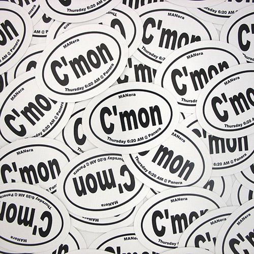 C'mon Custom Oval Stickers