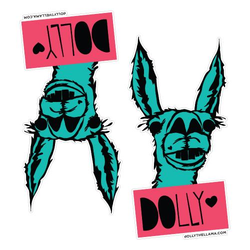 Dolly the Llama Custom Die Cut Stickers