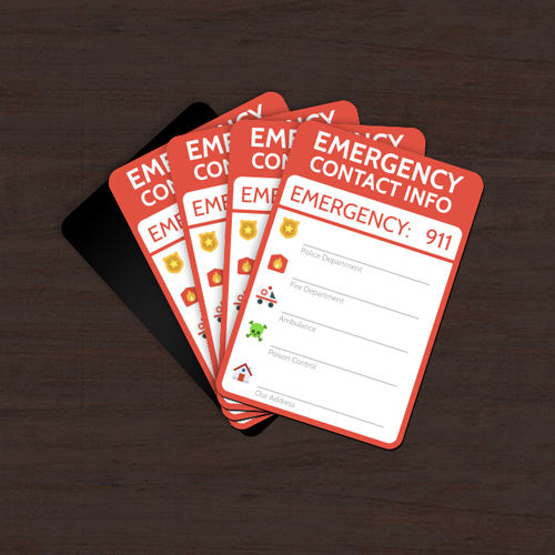 Emergency Contact Custom Rounded Rectangle Magnets