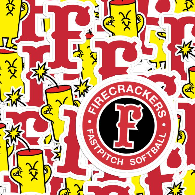 Firecrackers Softball Die Cut & Circle Stickers