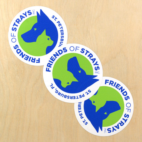 Friends of Strays Inc. Custom Circle Stickers