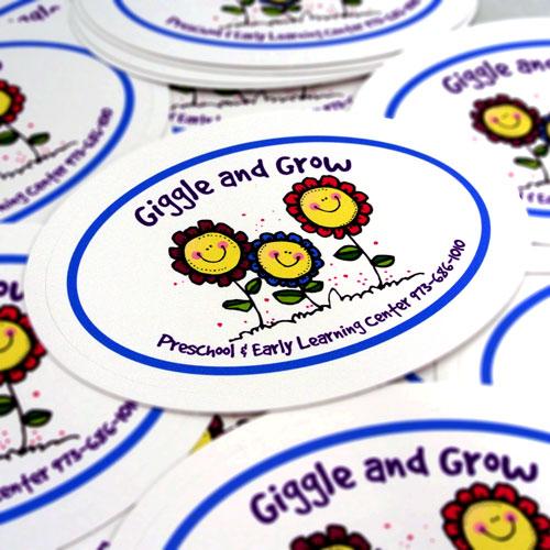 Giggle And Grow Preschool Custom Oval Stickers