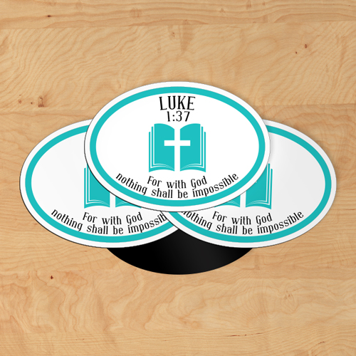 Luke 1:37 Custom Oval Magnet