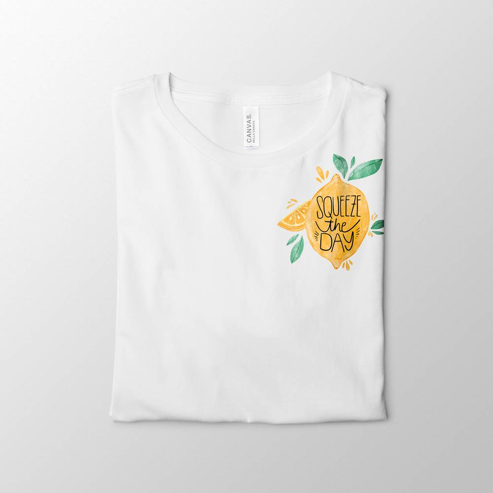 Squeeze The Day White Tee Design