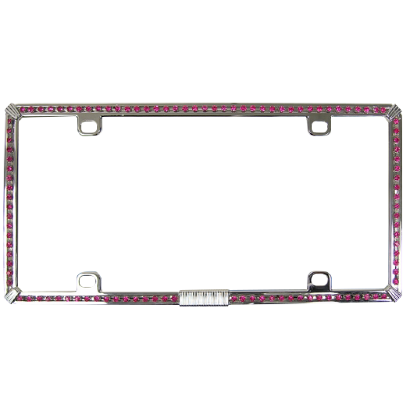 Single Row of Pink Diamonds on Chrome Bling License Plate Frame