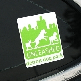 Unleashed Detroit Dog Park Custom Rounded Rectangle Stickers