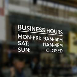 Vinyl Lettering Business Hours