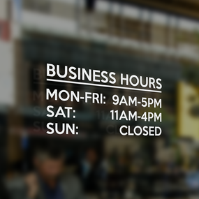 Vinyl Lettering Business Hours