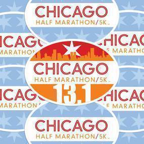 Chicago Half Marathon Oval Stickers