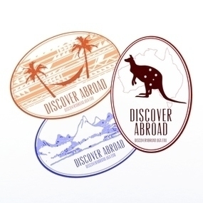 UGA Discover Abroad Custom Oval Stickers