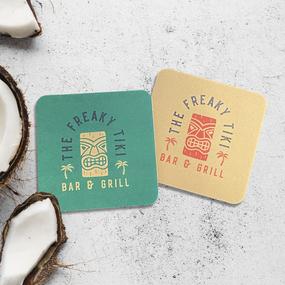 Freaky Tiki Square Paper Coasters