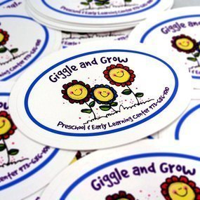 Giggle And Grow Preschool Custom Oval Stickers