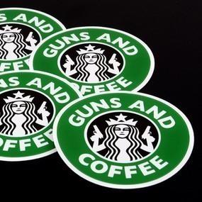 Guns and Coffee Custom Circle Stickers