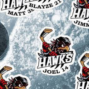 Hawks Hockey Die Cut Sticker