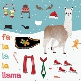 Fa La La La Llama Custom Sticker Sheets