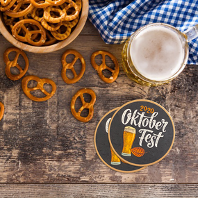 Oktoberfest Circle Paper Coasters
