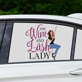 Wine & Lash Lady Perforated Film Window Sticker
