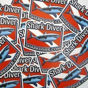 Shark Diver Custom Die Cut Stickers