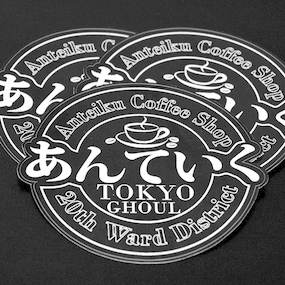 Anteiku Coffee Shop Die Cut Stickers with Border