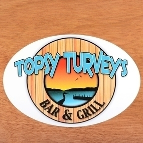 Topsy Turvey's Custom Oval Stickers