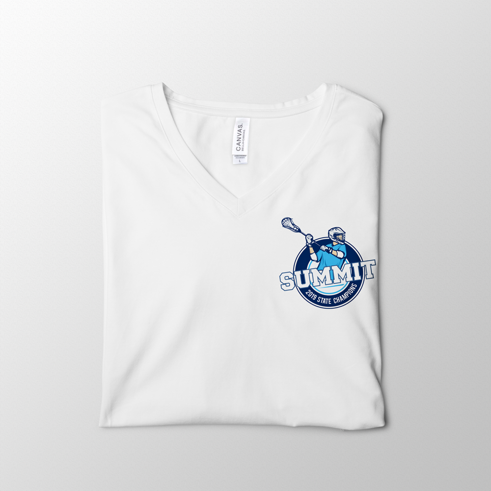 Lacrosse White V-Neck Tee Design