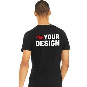 Men's Black V-Neck Short Sleeve Shirt Example Back