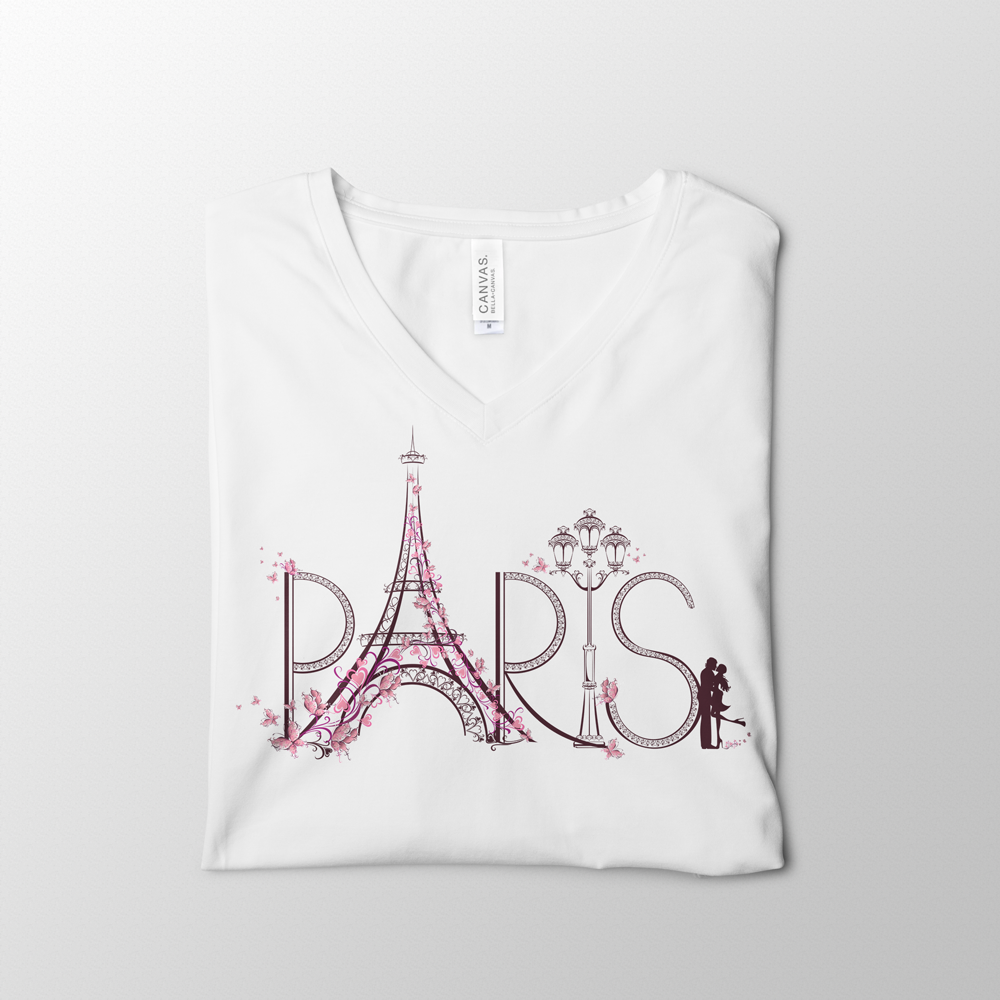 Paris White V-Neck Tee Design