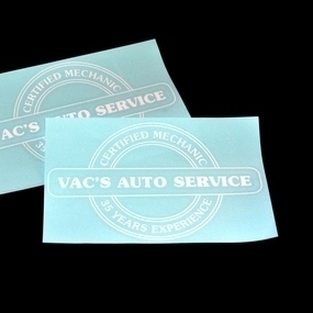Vac's Auto Service Transfer Sticker