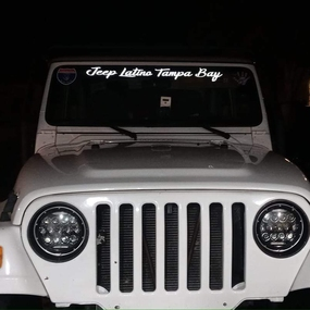 Windshield banner on a Jeep