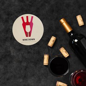 Wine Down Circle Paper Coaster