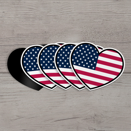 US Flag Custom Heart Magnet