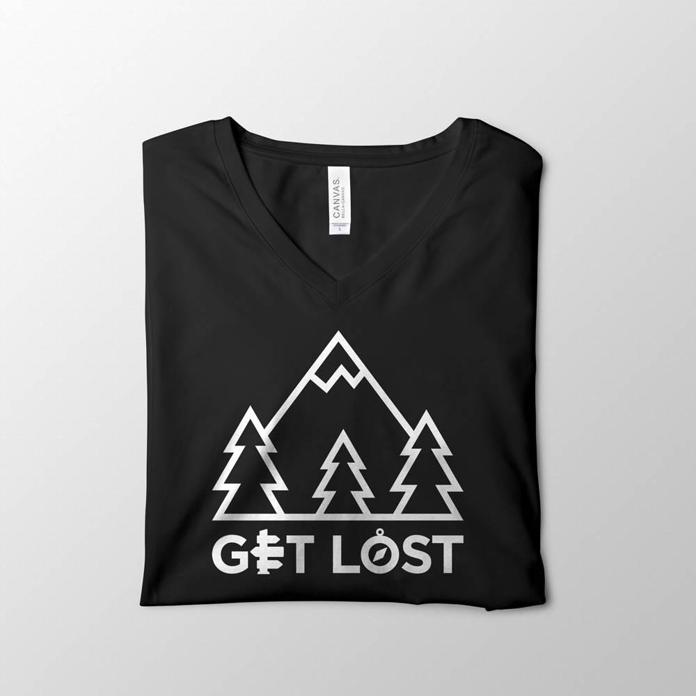 Get Lost Black V-Neck Tee Design