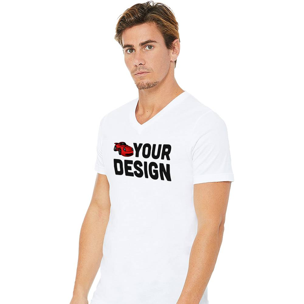 Men's White V-Neck Short Sleeve Shirt Example