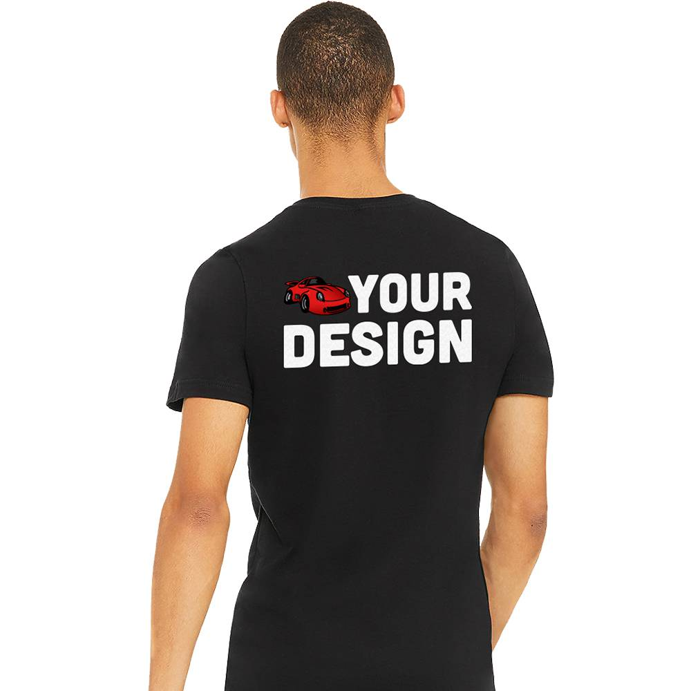 Men's Black V-Neck Short Sleeve Shirt Example Back